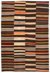 Kilim Patchwork Rug 201X297 Authentic  Modern Handwoven Dark Brown (Wool, Turkey)
