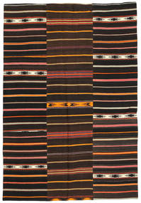 Kilim Patchwork Rug 160X230 Authentic  Modern Handwoven Dark Brown (Wool, Turkey)