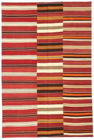 Kelim Patchwork Teppich  152X230 Echter Moderner Handgewebter Rost/Rot/Dunkelrot (Wolle, Türkei)