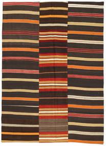 Kilim Patchwork Rug 5′6″x7′8″ Authentic  Modern Handwoven Dark Grey/Dark Brown (Wool, Turkey)