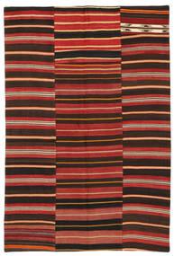 Kelim Patchwork Teppich  153X228 Echter Moderner Handgewebter Dunkelbraun/Dunkelrot/Rost/Rot (Wolle, Türkei)