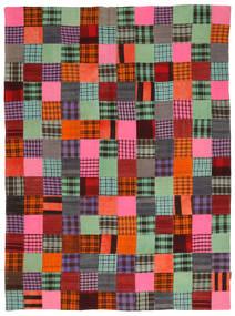 Kelim Patchwork Matto 184X246 Moderni Käsinkudottu Tummanruskea/Tummanpunainen (Villa, Turkki)