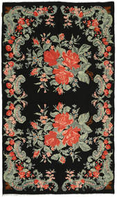 Rose Kelim Rug 190X322 Authentic  Oriental Handwoven Black/Light Green (Wool, Moldova)
