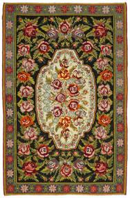 Rose Kelim Tæppe 193X292 Ægte Orientalsk Håndvævet Mørkegrå (Uld, Moldova)