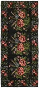Rose Kelim Rug 183X416 Authentic  Oriental Handwoven Hallway Runner  Dark Green/Dark Brown (Wool, Moldova)