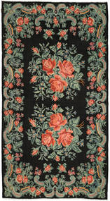 Rose Kelim Rug 194X357 Authentic  Oriental Handwoven Dark Grey (Wool, Moldova)