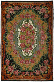 Rose Kelim Tæppe 241X372 Ægte Orientalsk Håndvævet Mørkerød/Mørkegrøn (Uld, Moldova)