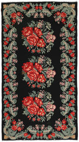 Rose Kelim Rug 175X320 Authentic  Oriental Handwoven Black/Dark Grey (Wool, Moldova)