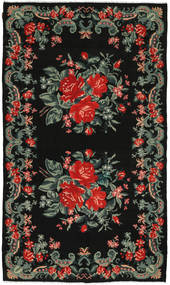 Rose Kelim Rug 185X317 Authentic  Oriental Handwoven Black/Dark Grey (Wool, Moldova)