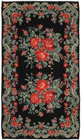 Kilim Rose Alfombra 186X322 Oriental Tejida A Mano Negro/Gris Oscuro (Lana, Moldavia)