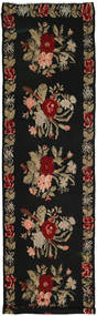 Rose Kelim Rug 146X537 Authentic  Oriental Handwoven Hallway Runner  Black/Light Brown (Wool, Moldova)