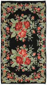 Rose Kelim Rug 179X331 Authentic  Oriental Handwoven Dark Green/Light Green (Wool, Moldova)