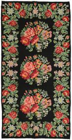 Kelim Rosen Teppich 172X350 Echter Orientalischer Handgewebter Dunkelgrau/Olivgrün (Wolle, Moldawien)
