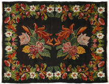 Rose Kelim Rug 226X297 Authentic  Oriental Handwoven Black/Rust Red (Wool, Moldova)