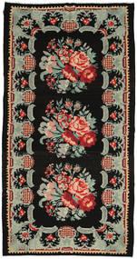 Kilim Rose Szőnyeg 183X350 Keleti Kézi Szövésű Fekete/Világosszürke (Gyapjú, Moldova)