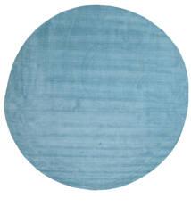 Handloom - Lichtblauw Tapijt Ø 300 Modern Rond Lichtblauw/Turquoise Blauw Groot (Wol, India)
