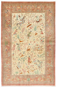 Qum Silk Signed: Hosseini Rug 155X240 Authentic  Oriental Handknotted Rust Red/Dark Beige (Silk, Persia/Iran)