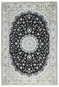 Nain 6La Teppich 198X292 Echter Orientalischer Handgeknüpfter Beige/Dunkelgrau (Wolle/Seide, Persien/Iran)