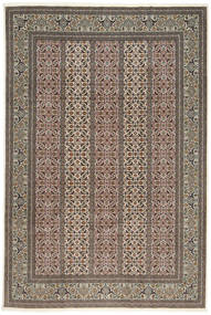 Täbriz 50 Raj Mit Seide Teppich  200X303 Echter Orientalischer Handgeknüpfter Hellgrau/Dunkelgrau (Wolle/Seide, Persien/Iran)