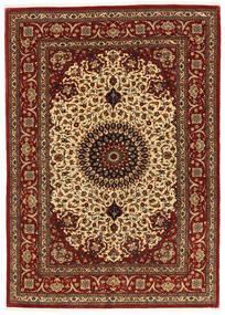 Ghom Kork/Silkki Matto 137X197 Itämainen Käsinsolmittu Tummanpunainen/Vaaleanruskea (Villa/Silkki, Persia/Iran)