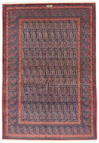 Kashan Semnat: Shadsar Covor 138X201 Orientale Lucrat Manual Mov Închis/Roşu Închis (Lână, Persia/Iran)