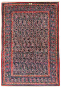 Keshan Signert: Shadsar Teppe 138X201 Ekte Orientalsk Håndknyttet Mørk Lilla/Lyselilla (Ull, Persia/Iran)