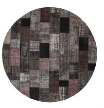 Patchwork Rug Ø 399 Authentic Modern Handknotted Round Dark Grey/Black Large (Wool, Turkey)