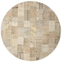 パッチワーク 絨毯 Ø 399 モダン 手織り ラウンド 薄茶色 大きな (ウール, トルコ)