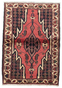 Hamadan Rug 88X126 Authentic  Oriental Handknotted Dark Red/Brown (Wool, Persia/Iran)