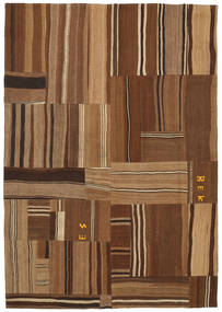 Kilim Patchwork Rug 169X240 Authentic  Modern Handwoven Brown/Dark Brown (Wool, Turkey)