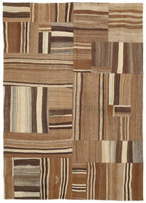 Kilim Patchwork Rug 165X234 Authentic  Modern Handwoven Brown/Dark Brown (Wool, Turkey)