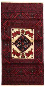バルーチ 絨毯 84X164 オリエンタル 手織り 深紅色の (ウール, ペルシャ/イラン)
