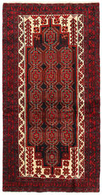 Belutsch Teppich  103X200 Echter Orientalischer Handgeknüpfter Dunkelrot/Dunkelbraun (Wolle, Persien/Iran)
