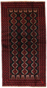 Belutsch Teppich  101X203 Echter Orientalischer Handgeknüpfter Dunkelrot (Wolle, Persien/Iran)