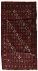Beluch Teppe 102X194 Ekte Orientalsk Håndknyttet Mørk Brun/Mørk Rød (Ull, Persia/Iran)