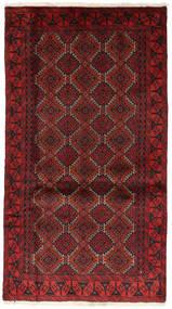 Belutsch Teppich  102X182 Echter Orientalischer Handgeknüpfter Dunkelrot/Dunkelbraun (Wolle, Persien/Iran)