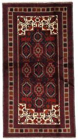 Beluch Tæppe 108X201 Ægte Orientalsk Håndknyttet Mørkebrun/Mørkerød (Uld, Persien/Iran)