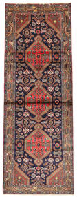 Hamadan Rug 110X300 Authentic  Oriental Handknotted Hallway Runner  Brown/Black (Wool, Persia/Iran)
