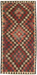 Kelim Fars Tapijt 140X285 Echt Oosters Handgeweven Donkergrijs/Donkerrood (Wol, Perzië/Iran)