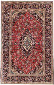 カシャン パティナ 絨毯 200X322 オリエンタル 手織り 深緑色の/薄茶色 (ウール, ペルシャ/イラン)