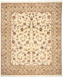 Tabriz 50 Raj Med Silke Matta 252X302 Äkta Orientalisk Handknuten Mörkbeige/Ljusbrun Stor (Ull/Silke, Persien/Iran)