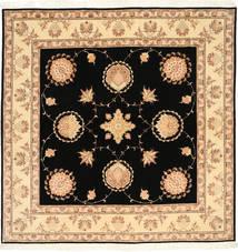 Tabriz 50 Raj Met Zijde Vloerkleed 203X205 Echt Oosters Handgeknoopt Vierkant Zwart/Lichtbruin (Wol/Zijde, Perzië/Iran)