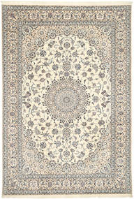 Nain 6La Habibian Rug 208X306 Authentic Oriental Handknotted Light Grey/White/Creme (Wool/Silk, Persia/Iran)