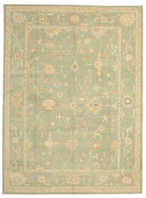 Oushak Rug 282X378 Authentic  Oriental Handknotted Light Green/Olive Green Large (Wool, Turkey)