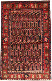 Nahavand Rug 130X206 Authentic  Oriental Handknotted Dark Red/Rust Red (Wool, Persia/Iran)