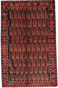 Nahavand Rug 140X222 Authentic Oriental Handknotted Dark Red/Dark Green (Wool, Persia/Iran)