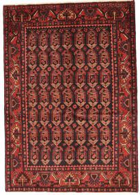 Nahavand Teppe 140X199 Ekte Orientalsk Håndknyttet Mørk Rød/Mørk Brun (Ull, Persia/Iran)