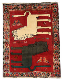 Qashqai Pictorial Rug 133X172 Authentic Oriental Handknotted Rust Red/Dark Grey (Wool, Persia/Iran)