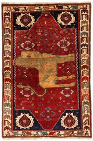 Ghashghai Figurativ Teppich 130X200 Echter Orientalischer Handgeknüpfter Rost/Rot/Dunkelrot (Wolle, Persien/Iran)