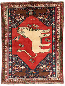 Qashqai Pictorial Rug 150X202 Authentic  Oriental Handknotted Dark Red/Rust Red (Wool, Persia/Iran)